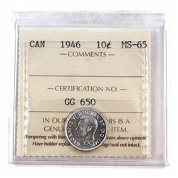 10-cent 1946 ICCS Certified MS-65