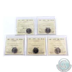 10-cent 1975, 1976, 1977, 1978 & 1979 ICCS Certified MS-66. 5pcs