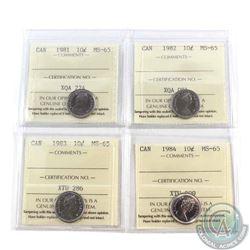 10-cent 1981, 1982, 1983 & 1984 ICCS Certified MS-65. 4pcs