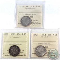 1885 NFLD 20-cent ICCS F-12, 1890 NFLD ICCS 20-cent F-15 & 1904H 20-cent ICCS F-12. 3pcs