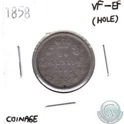 1858 Canada 20-cent VF-EF (hole)