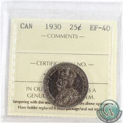1930 Canada 25-cent ICCS Certified EF-40