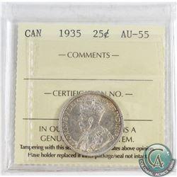 1935 Canada 25-cent ICCS Certified AU-55