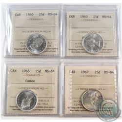 Estate Lot of 1960-1967 Canada 25-cent ICCS Certified MS-64 - 1960, 1963, 1965 Cameo & 1967. 4pcs