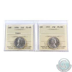 25-cent 1956 Cameo & 1957 ICCS Certified PL-66! 2pcs