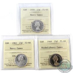 25-cent 1959, 1965 & 1968 Nickel ICCS Certified PL-66 Heavy Cameo. 3pcs