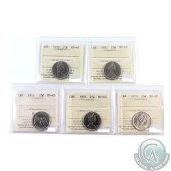 25-cent, 1970, 1971, 1972, 1974 & 1976 ICCS Certified MS-65! 5pcs