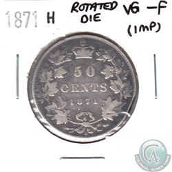 1871H Canada 50-cent Rotated Die VG-F (impaired)
