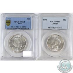 1940 & 1943 Canada 50-cent PCGS Certified MS-62. 2pcs