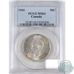 1942 Canada 50-cent PCGS Certified MS-63