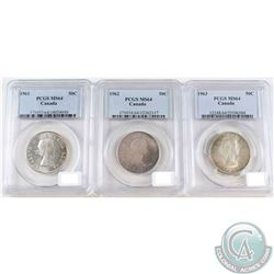 1961, 1962 & 1963 Canada 50-cent PCGS Certified MS-64. 3pcs