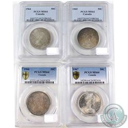1964, 1965, 1966 & 1967 Canada 50-cent PCGS Certified MS-64. 4pcs