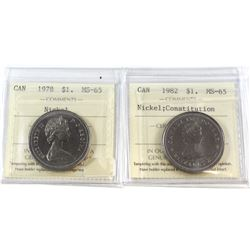 1978 & 1982 Constitution Canada Nickel $1 ICCS Certified MS-65. 2pcs