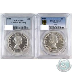 1953 Should Strap & 1953 No shoulder strap Canada Silver Dollars PCGS Certified MS-64. 2pcs