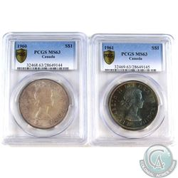 1960 & 1961 Canada Silver Dollar PCGS Certified MS-63. 2pcs