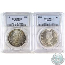 1963 &1964 Canada Silver Dollar PCGS Certified MS-64. 2pcs