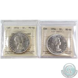 1954 Canada Silver $1 ICCS Certified MS-64 & 1954 Silver $1 Rev-002 Variety ICCS Certified MS-64. 2p