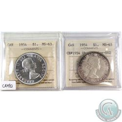 1954 Canada Silver$1 ICCS MS-63 Cameo & 1954 Silver $1 CH# 1954 Obv-002, Rev-002 ICCS Certified MS-6