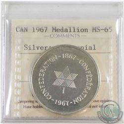 1967 Centennial Silver Medal ICCS Certified MS-65