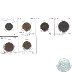 Lot of 6x 1789-1875 Great Britain Tokens with Various 'Sayings'. 6pcs