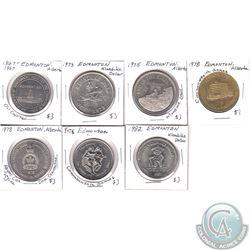 Lot of 1967-1982 Edmonton, Alberta Klondike Dollars & Various Medallions. 7pcs