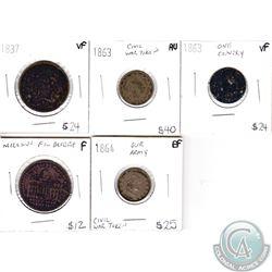 5x USA War Tokens: 1837 Hard times Not One Cent Token VF, 1863 Civil War Token AU, 1863 Broas Pie Ba