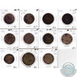 1812-1857 Bank of Canada Half & full Penny Tokens: 1812, 1844, 1844, 1850, 1852, 1854, 1857, 1857, 1