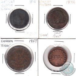 1815 British Copper Token, 1842 Bank of Montreal Half Penny, 1857 Bank of upper Canada, 1857 PEI Tra
