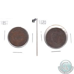 1820 LC-60E2 Bank Token AU & 1857 PE-7CI Prince Edward Island Token EF. 2pcs