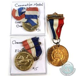 Lot of 3x 1953 Queen Elizabeth II Coronation Medals of Different Designs with Ribbons. 3pcs