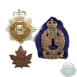 3x 1939-1945 Cap Badges: Royal Canadian Electrical and Mechanical Engineers, Royal Canadian Army Ser