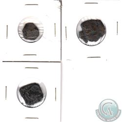 Lot of Unrecognizable Old Copper Coins of Irregular Shapes. 3pcs