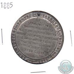 1885 Anniversary Welsh Sunday School Pewter Medal( holed). Diameter 44 mm