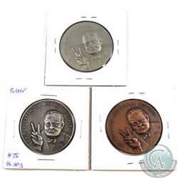 3x Sir Winston Churchill 1874-1963 Medal in Silver, Bronze and Nickel. 3pcs