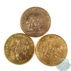 1964, 1965 & 1966 Calgary Stampede Trade Dollars. 3pcs
