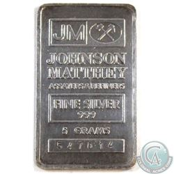 Johnson Matthey 5 Grams .999 Fine Silver Bar