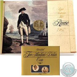Australia Mint; 1987 $200 Captain Arthur Phillips Journey from Portsmouth to Syndey 22K Gold Coin.