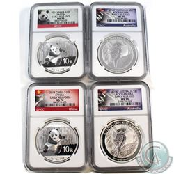 World Lot; 2014 Australia $1 Kookaburra & 2014 10Y China Panda NGC Certified MS-70 Early Releases Co