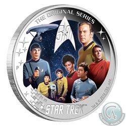 Australia; Perth Mint 2016 Tuvalu $2 Star Trek - U.S.S Enterprise NCC-1701 Crew 2oz Silver Coin (Tax