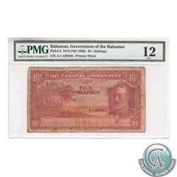 Bahama Island; Pick#6. 1919 (ND 1930) Bahamas 10 Shillings. S/N: A/1 159269. Printer W&S. PMG F-12.
