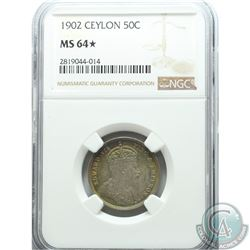 Ceylon 1902 50-cent NGC Certified MS-64. Coin contains beautiful rainbow toning around rim on both s