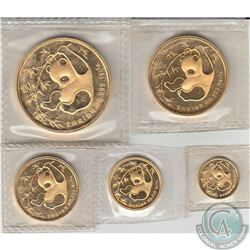 China 1985 .999 Fine Gold Panda Fractional Set Including 1/20, 1/10, 1/4, 1/2 & 1oz Gold Bullion Coi