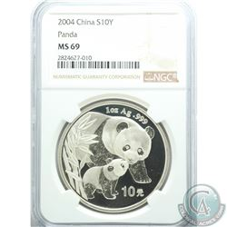 China 2004 10 Yuan 1oz Silver Panda, NGC Certified MS-69  (Tax Exempt).