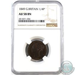 Great Britain 1849 1/4 Penny NGC Certified AU-58 Brown