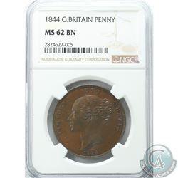 Great Britain 1844 Penny NGC Certified MS-62 BN