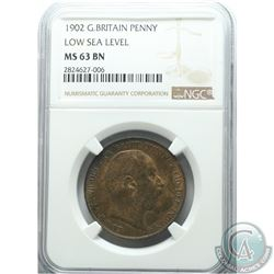 Great Britain 1902 Penny Low Sea Level NGC Certified MS-63 BN