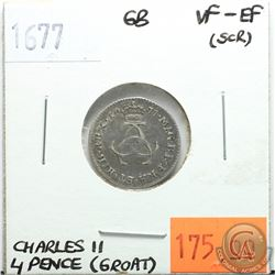 Great Britain 1677 Four Pence (Groat); Charles II; VF-EF (scratched)