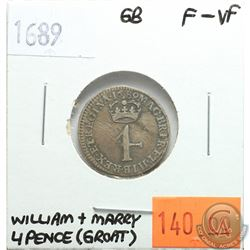 Great Britain 1689 Four Pence (Groat); William & Mary; F-VF