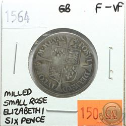 Great Britain 1564 Six Pence; Elizabeth I; Milled Small Rose; F-VF