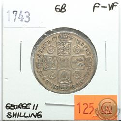 Great Britain 1743 Shilling; George II; F-VF